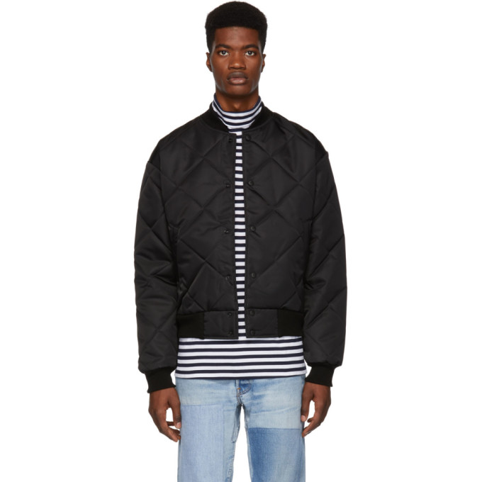 PAA Paa Black Quilted Bomber Jacket