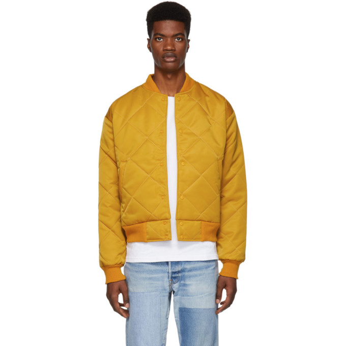 PAA Paa Yellow Quilted Bomber Jacket in Mustard
