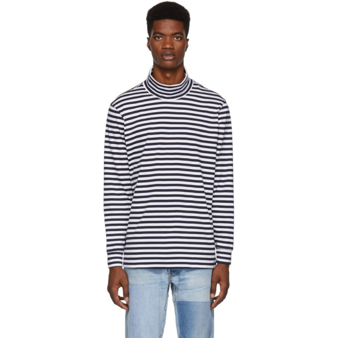PAA Paa Navy And White Striped Turtleneck in Navy Stripe