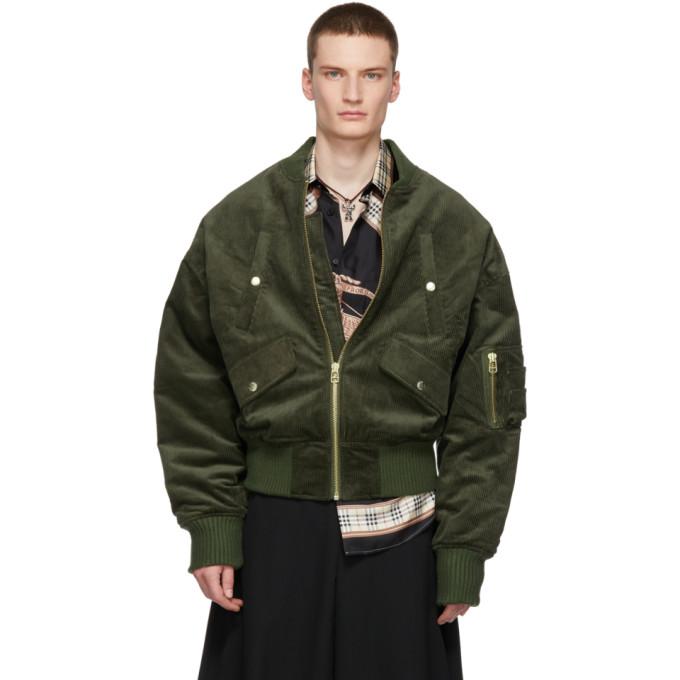 LANDLORD Landlord Green Corduroy Bomber Jacket