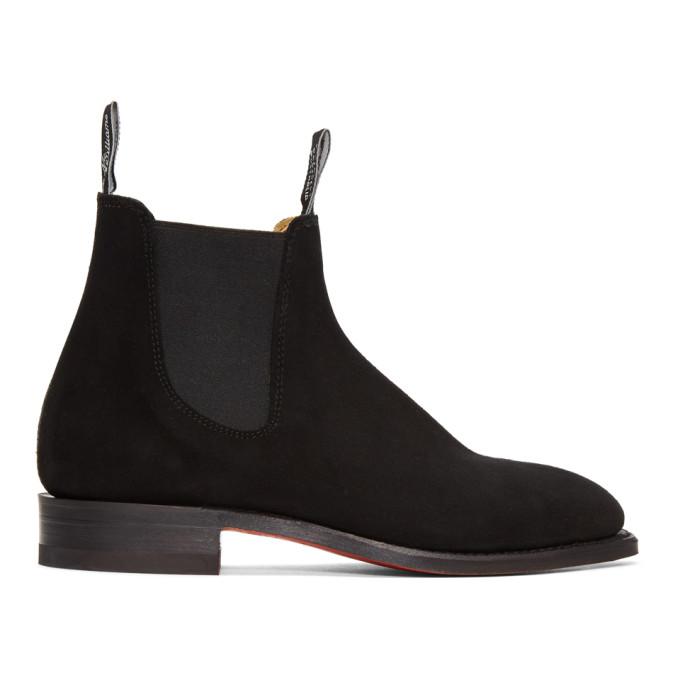 R.M.WILLIAMS R.M. Williams Black Suede Craftsman Chelsea Boots