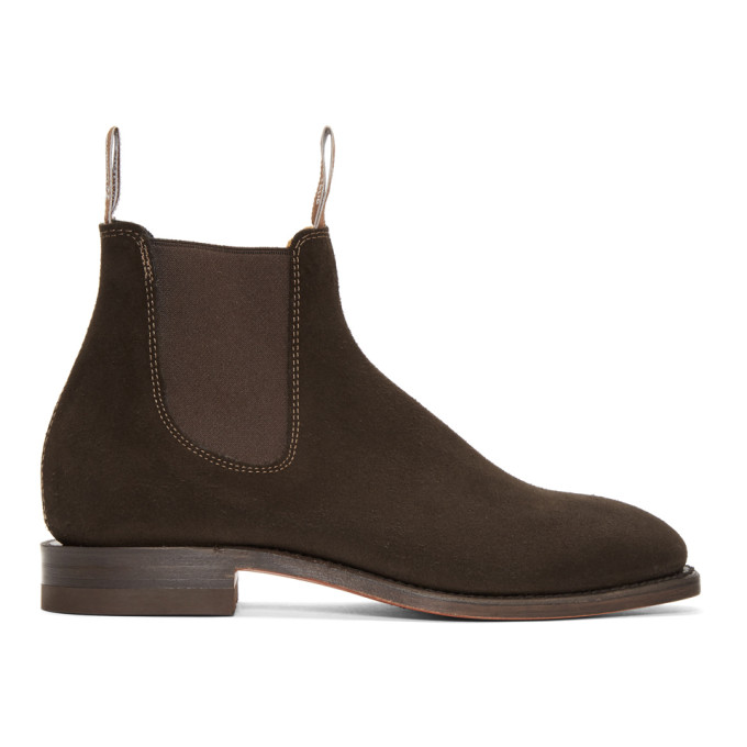 R.M.WILLIAMS R.M. Williams Brown Suede Craftsman Chelsea Boots in Chocolate