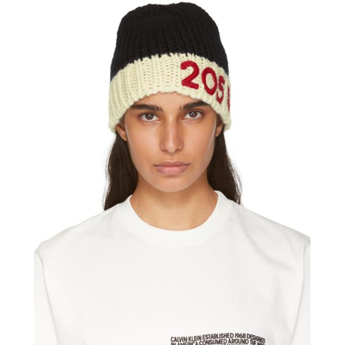 Image of Calvin Klein 205W39NYC Black & Off-White Logo Beanie