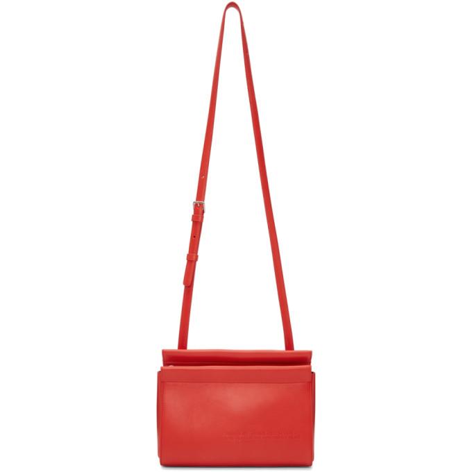 Calvin Klein 205W39NYC Red Top Zip Cross Body Bag