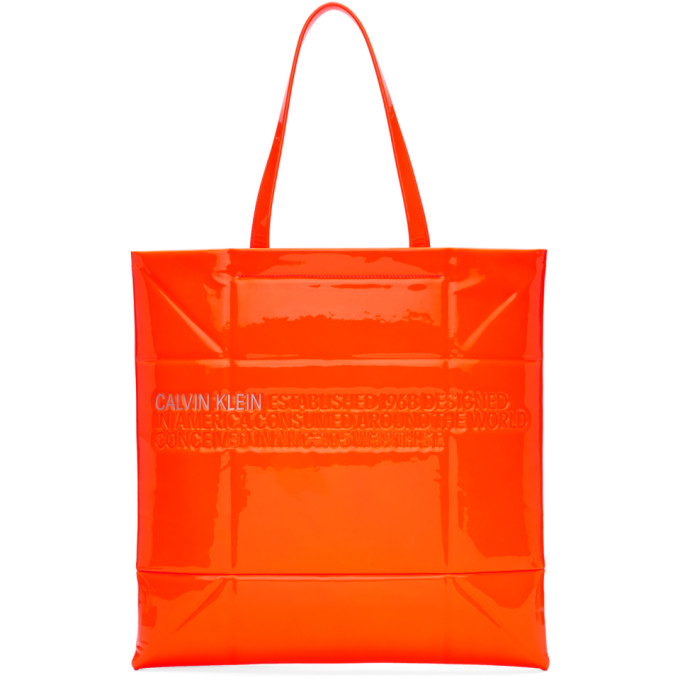 Image of Calvin Klein 205W39NYC Orange Small Geometric Tote
