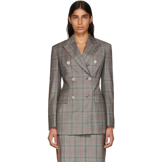 Image of Calvin Klein 205W39NYC Black & White Wool Classic Glen Plaid Blazer