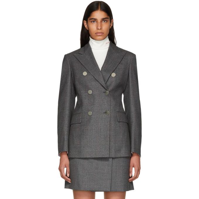 Calvin Klein 205W39NYC Grey Wool Fancy Small Check Blazer