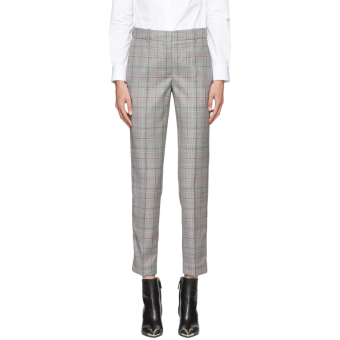 Image of Calvin Klein 205W39NYC Black and White Classic Glen Plaid Wool Trousers