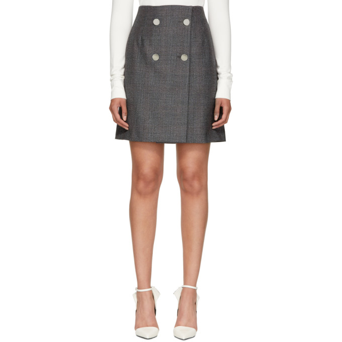Image of Calvin Klein 205W39NYC Grey Wool Fancy Small Check Skirt