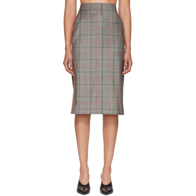 Calvin Klein 205W39NYC Black & White Wool Classic Glen Plaid Skirt