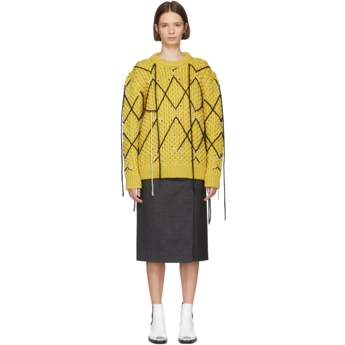 Honeycomb-Knit Wool-Mohair Oversized Sweater - Yellow Size S in 772 Lt Yell