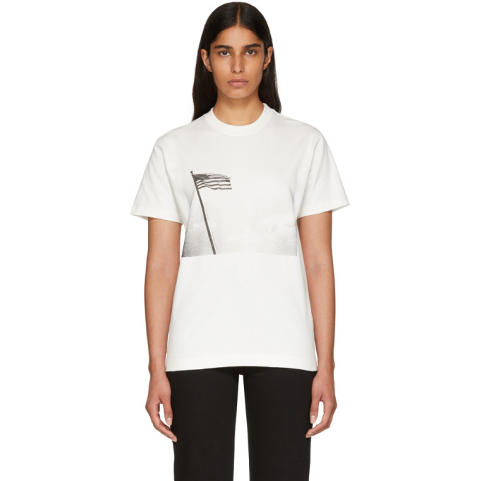 Image of Calvin Klein 205W39NYC Off-White American Flag T-Shirt