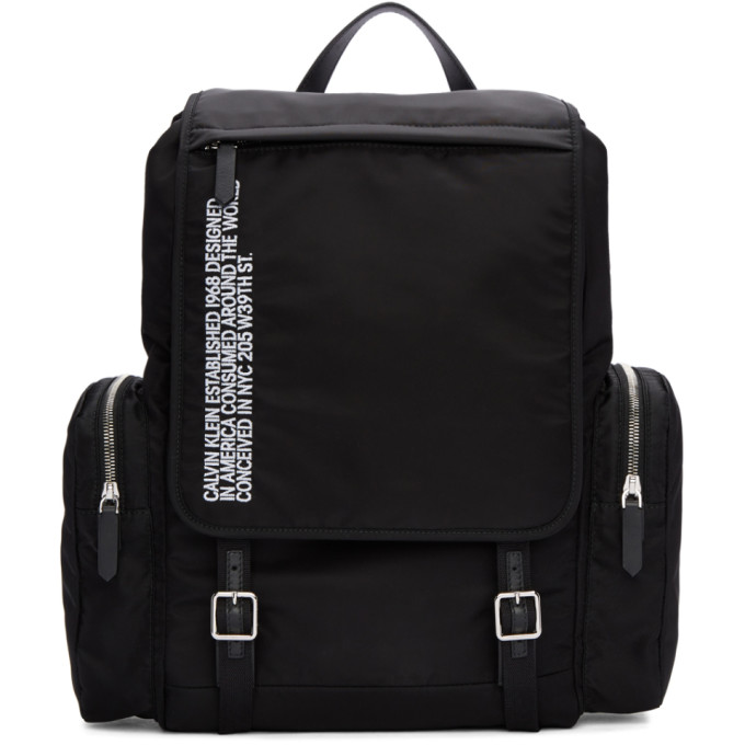 Calvin Klein 205W39NYC Black Nylon Flap Backpack
