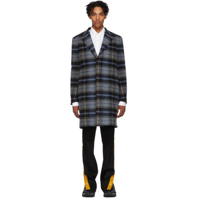 Calvin Klein 205W39NYC Grey & Blue Wool Blanket Coat