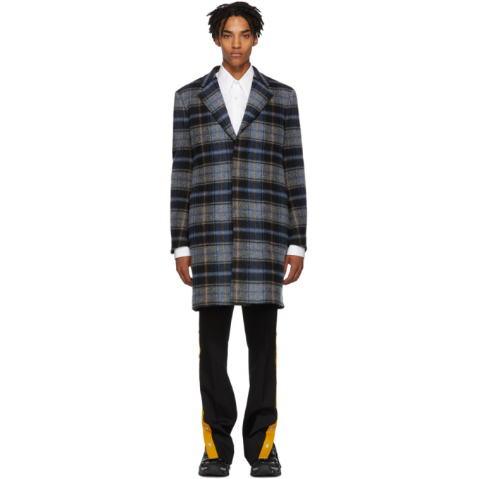 Calvin Klein 205W39NYC グレー & ブルー ウール ブランケット コート
