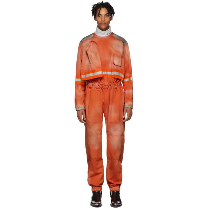 Image of Calvin Klein 205W39NYC Orange Fireman Reverse Zip Jumpsuit