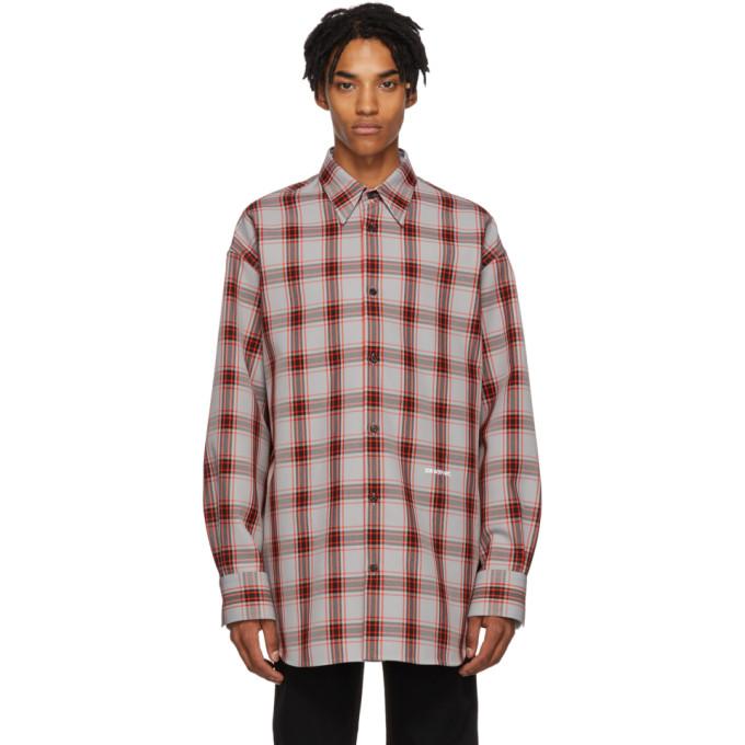 Calvin Klein 205W39NYC Grey Oversized Tartan Check Shirt
