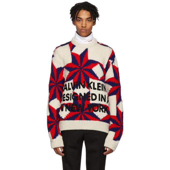 Image of Calvin Klein 205W39NYC White & Red Logo Crewneck Sweater