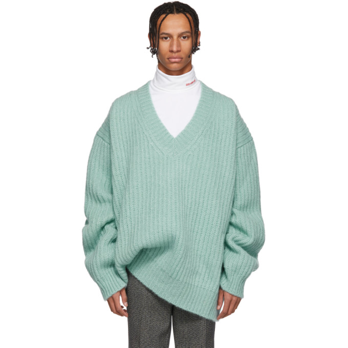 Image of Calvin Klein 205W39NYC Blue Oversize V-Neck Sweater