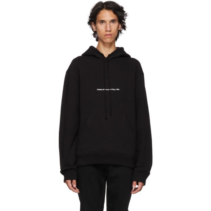 Image of Calvin Klein 205W39NYC Black 'American Flags And Buildings' Hoodie