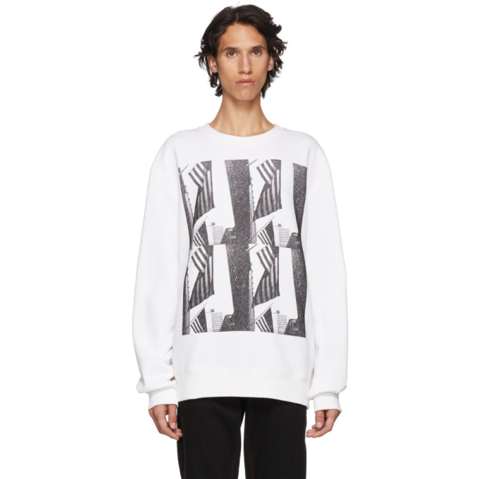 Image of Calvin Klein 205W39NYC White American Flag and Buildings Sweatshirt