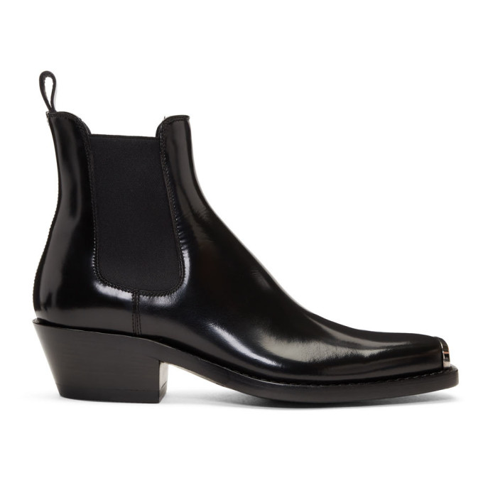Calvin Klein 205W39NYC Black Western Chris Abrasivato Chelsea Boots