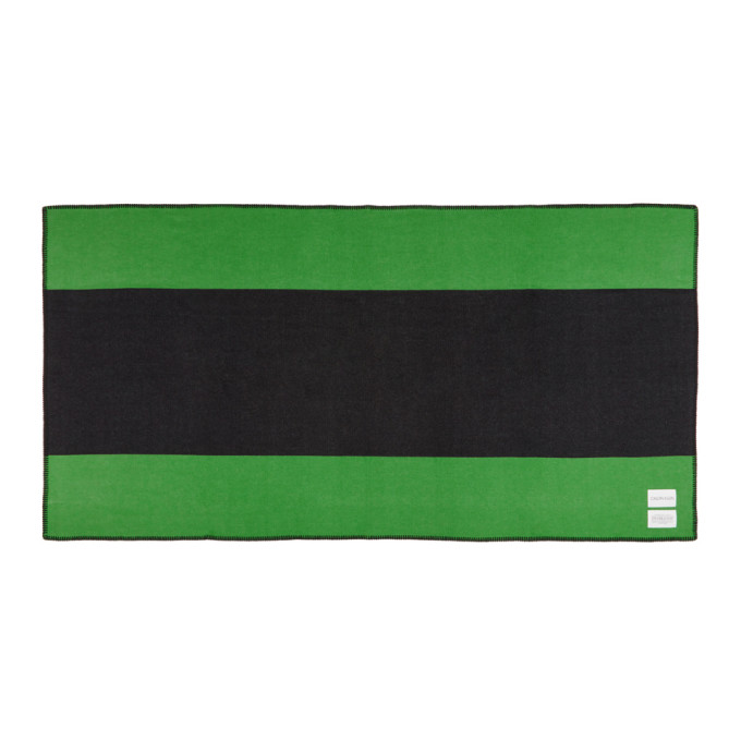 Image of Calvin Klein 205W39NYC Green & Black Pendleton Edition Colorblocked Blanket