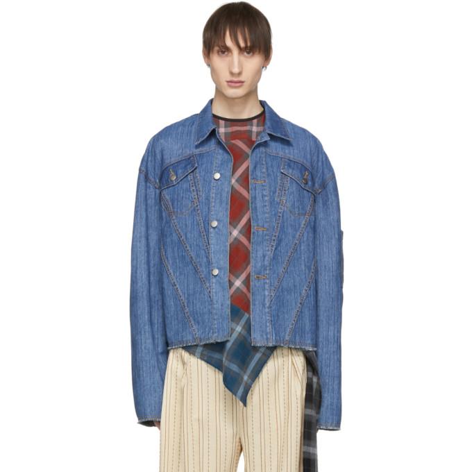 Image of Chin Mens Blue Denim Washed Jacket