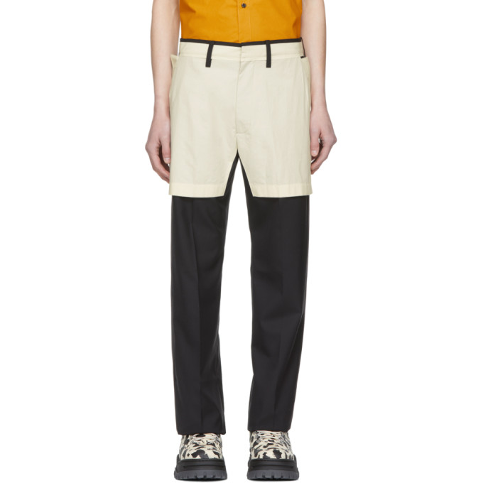 Image of Chin Mens Black Short Half-Lined Trousers