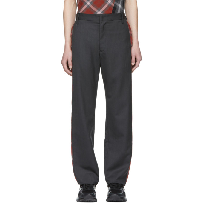 Image of Chin Mens Grey Side Plaid Trousers