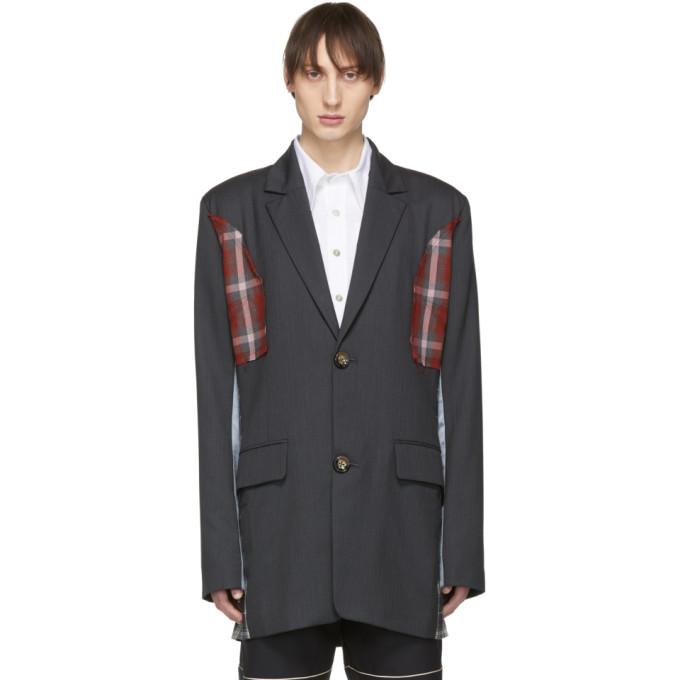 Image of Chin Mens Grey Pinstripe Patchwork Jacket