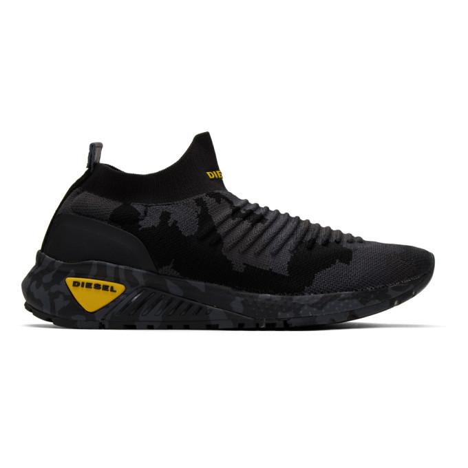 Image of Diesel Black Camo S-KB Sock Sneakers