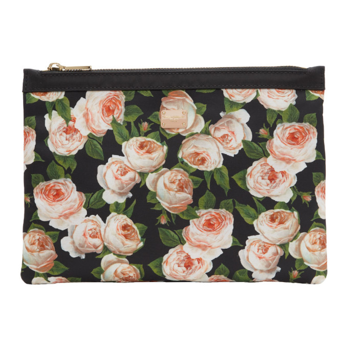 Dolce and Gabbana Black Flower Print Pouch