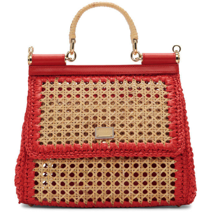Image of Dolce & Gabbana Beige & Red Medium Miss Sicily Bag