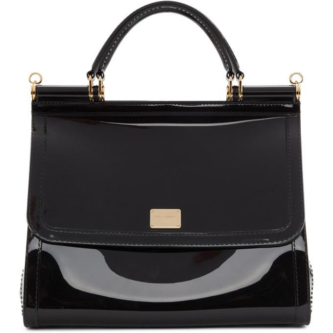 fa69b4c816f Dolce and Gabbana Black PVC Miss Sicily Bag