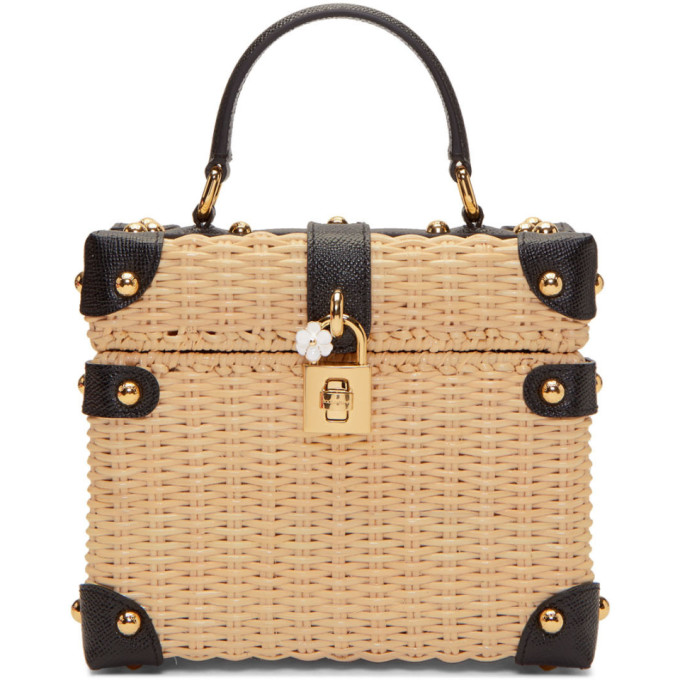 Image of Dolce & Gabbana Beige & Black Raffia Box Top Handle Bag