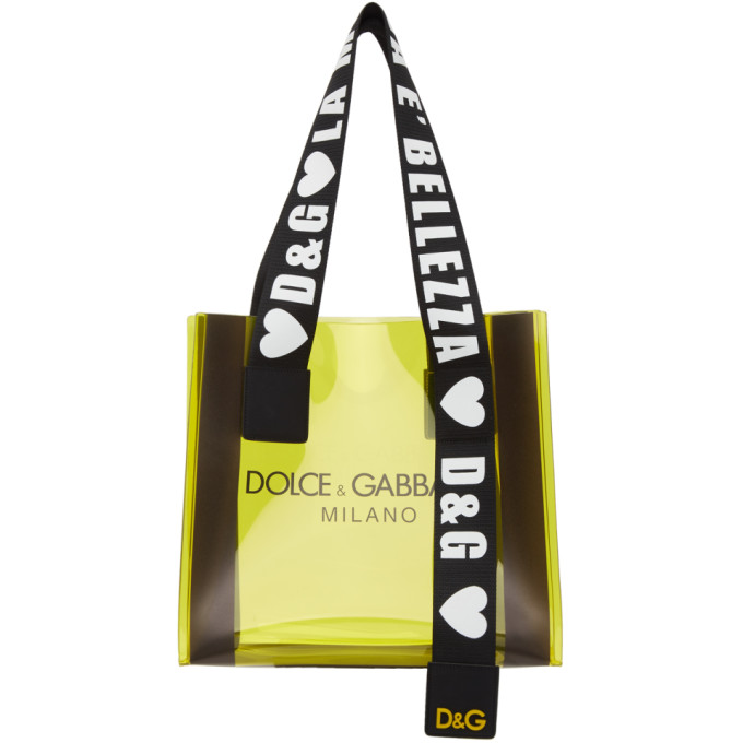 Dolce & Gabbana Totes DOLCE AND GABBANA YELLOW PVC STREET SHOPPING TOTE
