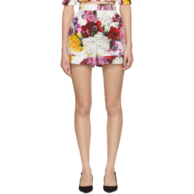 Dolce And Gabbana Multicolor Poplin Ortensia Shorts in Haw86 Pink