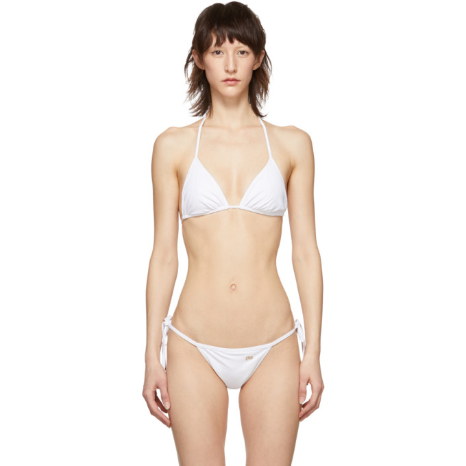 Dolce and Gabbana Haut de bikini triangle blanc