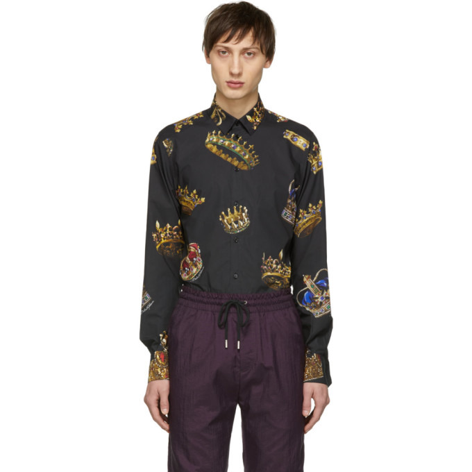 Image of Dolce & Gabbana Black All Over Crowns Shirt