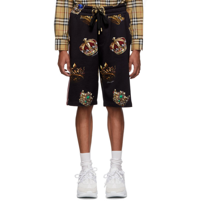 Image of Dolce & Gabbana Black All-Over Crowns Shorts