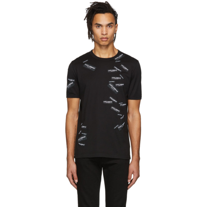Image of Dolce & Gabbana Black All-Over Patches T-Shirt
