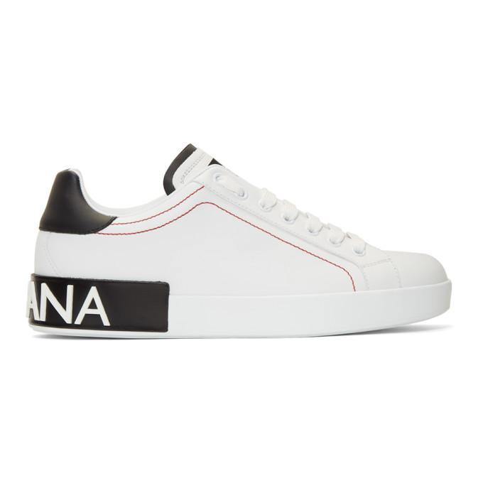 Dolce & Gabbana White & Black Portofino Sneakers