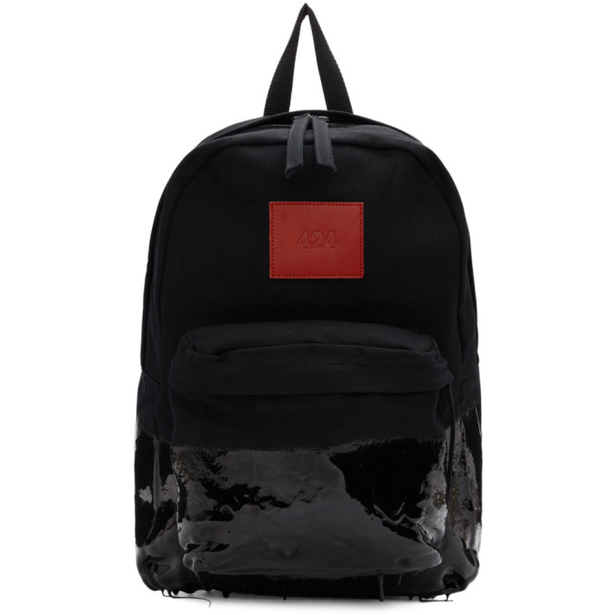 424 Black Coated Canvas Backpack