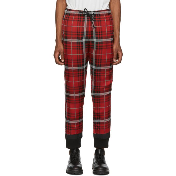 424 Pantalon de survetement en soie noir et rouge