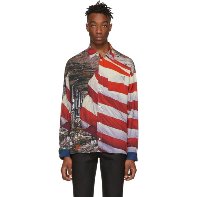 424 Chemise a boutons multicolore American Flag Detroit