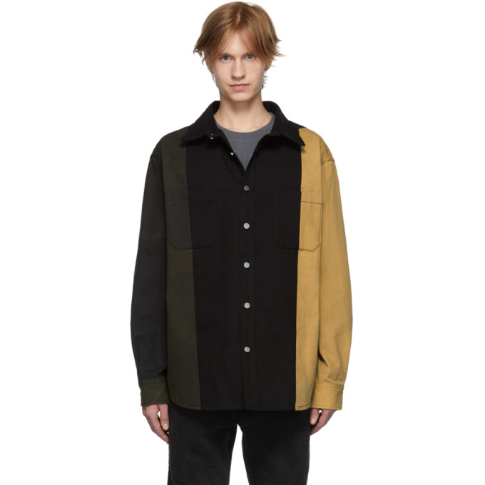 Image of 424 Black & Green Denim Colorblocked Jacket