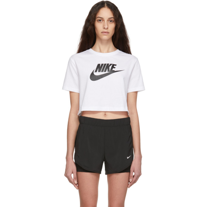 Nike White Cropped Sportswear Essential T-Shirt