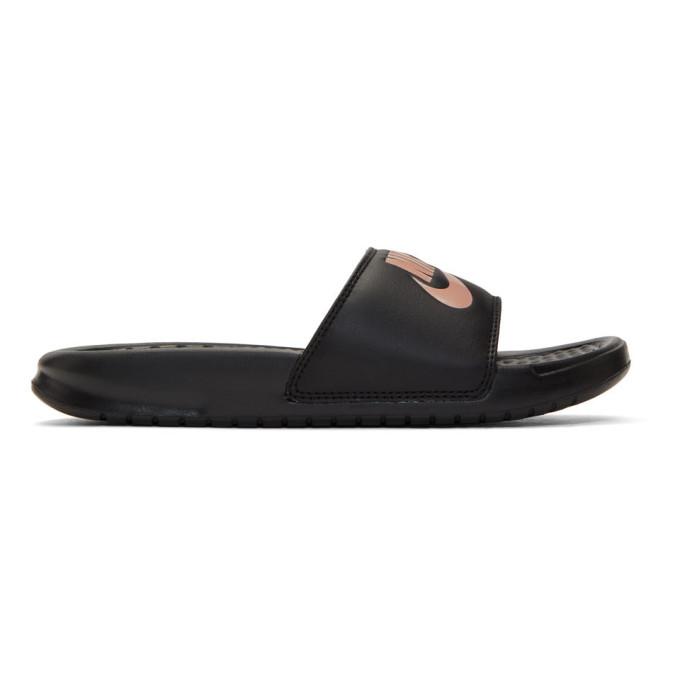 Nike Black and Rose Gold Benassi JDI Slides
