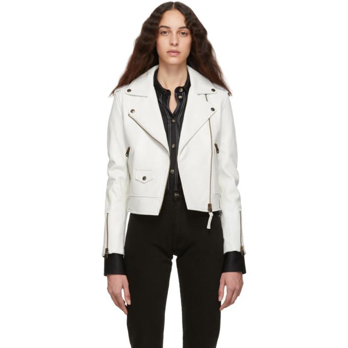 Mackage White Leather Baya Jacket